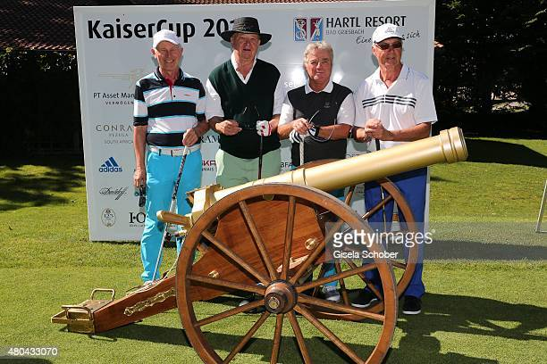 HansDieter Cleven Alois Hartl Karl Reyer Franz Beckenbauer during the Kaiser Cup 2015 golfcup and gala on July 11 2015 in Bad Griesbach near Passau...
