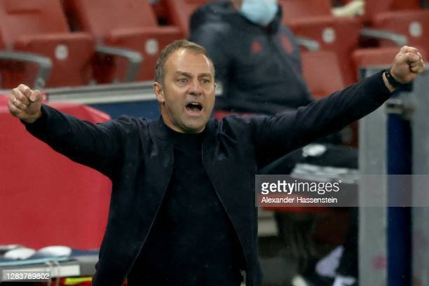 Hans-Dieter Flick, head coach of Bayern München celebrates the 5th team goal during the UEFA Champions League Group A stage match between RB Salzburg...