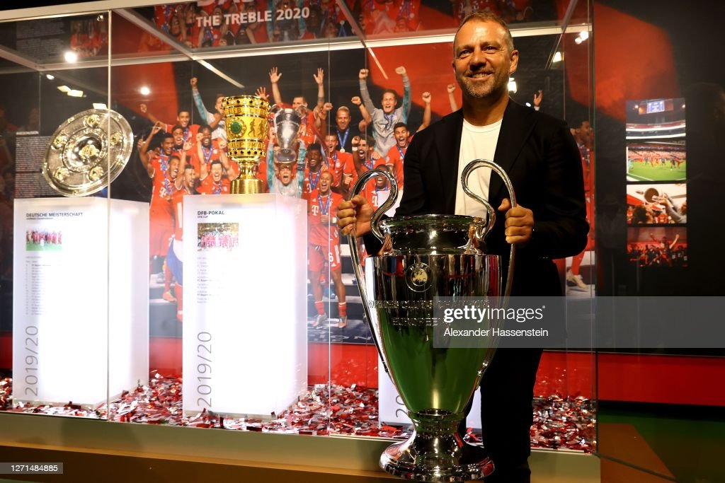 Hans-Dieter Flick Hands Over UEFA Champions League Trophy To FCB Museum : News Photo