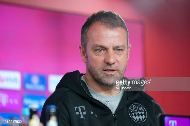 HansDieter Flick head coach of Bayern Muenchen speaks to the media during a press conference of FC Bayern Muenchen on March 13 2020 in Munich Germany