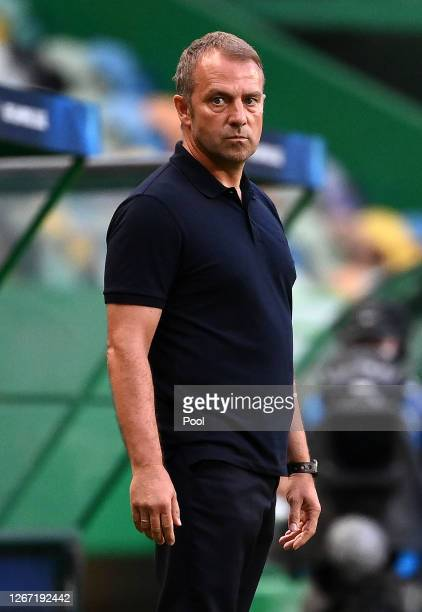 Hans-Dieter Flick, Head Coach of Bayern Munich looks on during the UEFA Champions League Semi Final match between Olympique Lyonnais and Bayern...