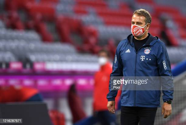 HansDieter Flick Head Coach of Bayern Munich reacts after the Bundesliga match between FC Bayern Muenchen and Fortuna Duesseldorf at Allianz Arena on...