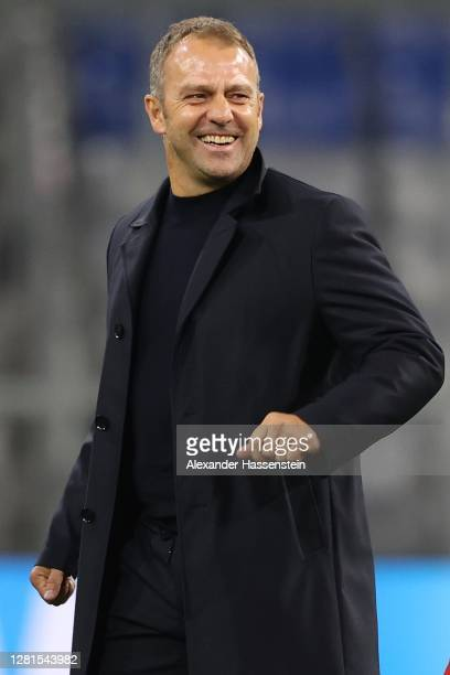 Hans-Dieter Flick, head coach of FC Bayern München smiles after the UEFA Champions League Group A stage match between FC Bayern Muenchen and Atletico...