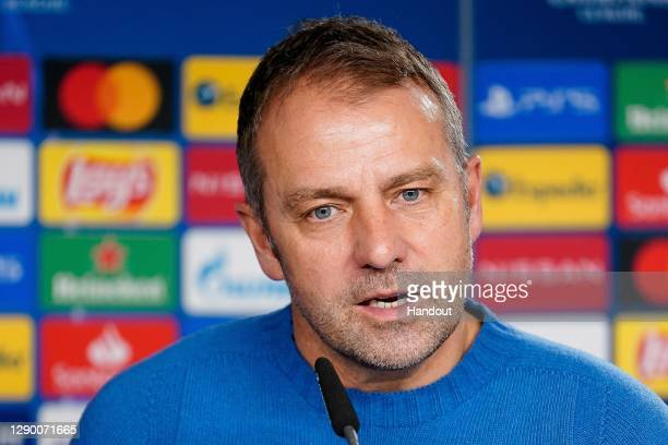 Hans-Dieter Flick, head coach of FC Bayern München talks to the media during a virtuell press conference ahead of the UEFA Champions League Group A...