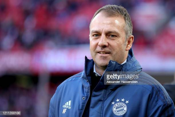 HansDieter Flick head coach of FC Bayern Muenchen looks on prior to the Bundesliga match between FC Bayern Muenchen and FC Augsburg at Allianz Arena...