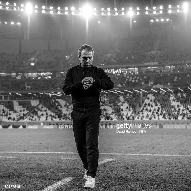 Hans-Dieter Flick, Head Coach of FC Bayern Muenchen reacts during the FIFA Club World Cup Qatar 2020 Final between FC Bayern Muenchen and Tigres UANL...