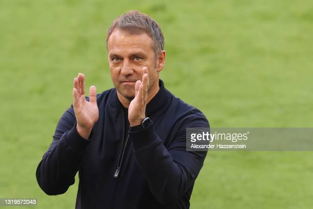 Hans-Dieter Flick, Head coach of FC Bayern Muenchen reacts prior to the Bundesliga match between FC Bayern Muenchen and FC Augsburg at Allianz Arena...