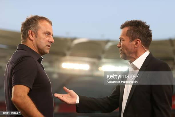 Hans-Dieter Flick, head coach of Germany talks to Lothar Matthäus prior to the 2022 FIFA World Cup Qualifier match between Germany and Armenia at...