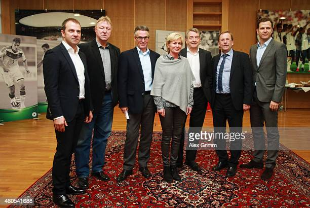HansDieter Flick Horst Hrubesch Helmut Sandrock Silvia Neid Wolfgang Niersbach Rainer Koch and Oliver Bierhoff attend a press conference about the...