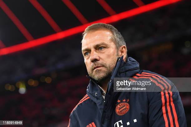 HansDieter Flick Interim Head Coach FC Bayern Munich looks on during the UEFA Champions League group B match between Bayern Muenchen and Olympiacos...