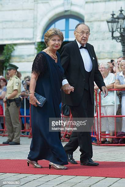 HansDietrich Genscher and his wife Barbara attend the Bayreuth Festival Opening 2014 on July 25 2014 in Bayreuth Germany