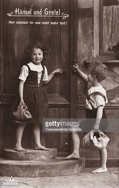 Hansel and Gretel adorn this real photo postcard from Berlin around 1920