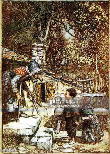 Hansel and Gretel and the Witch on the doorstep of her cottage showing tiles made of gingerbread Arthur Rackham illustration published 1899 for...