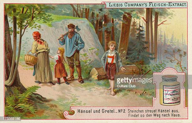 Hansel and Gretel by the Brothers Grimm Caption reads 'Hansel lays a trail of white pebbles so he can find his way home' Liebig card Hansel und...