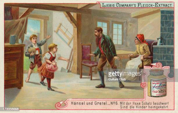 Hansel and Gretel by the Brothers Grimm Caption reads 'Weighed down with the witch's treasure the children returned home' Liebig card Hansel und...