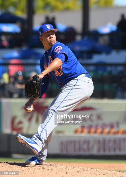 Hansel Robles of the New York Mets pitches during the Spring Training game against the Detroit Tigers at Publix Field at Joker Marchant Stadium on...