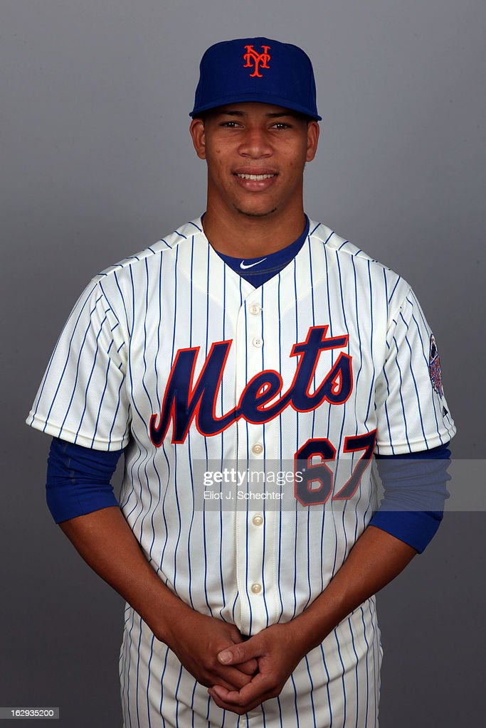 Hansel Robles #67 of the New York Mets poses during Photo Day on February 21, 2013 at Mets Stadium in Port St. Lucie, Florida.