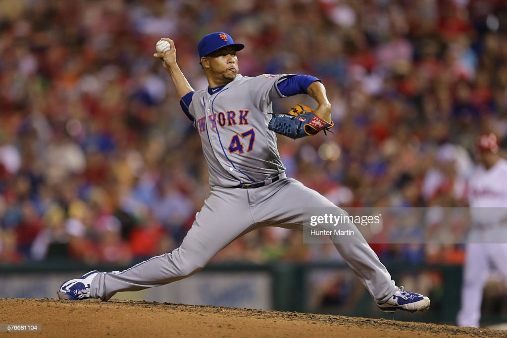 Hansel Robles #47 of the New York Mets throws a pitch in the seventh inning during a game against the Philadelphia Phillies at Citizens Bank Park on July 16, 2016 in Philadelphia, Pennsylvania. The Phillies won 4-2.