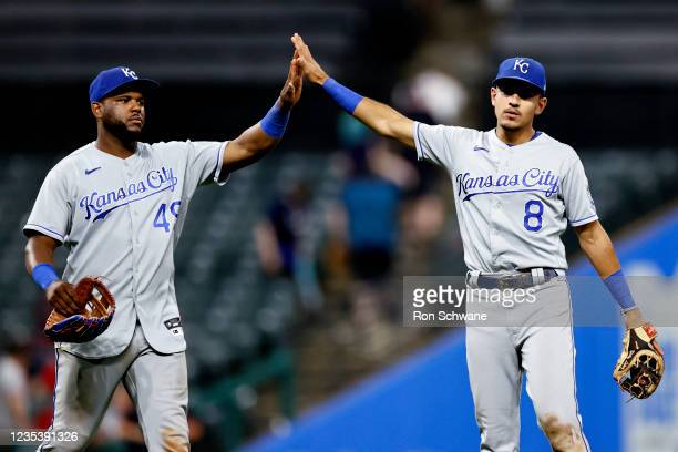 Hanser Alberto and Nicky Lopez of the Kansas City Royals celebrate a 4-2 victory over the Cleveland Indians in game two of a doubleheader at...