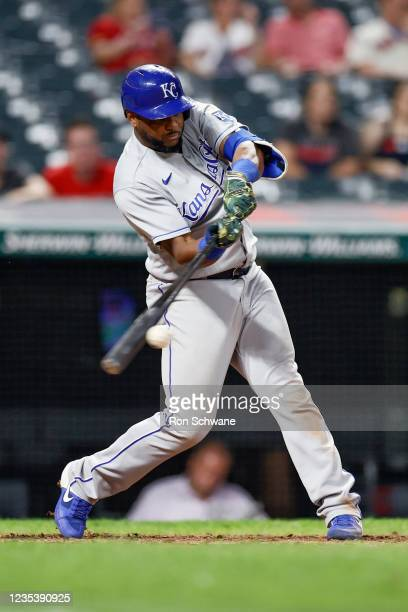 Hanser Alberto of the Kansas City Royals hits an RBI single off Bryan Shaw of the Cleveland Indians in the sixth inning during game two of a...
