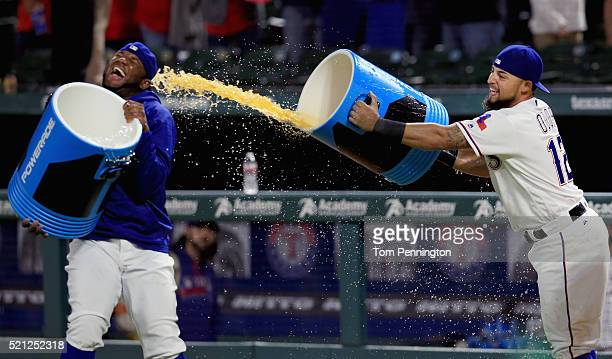 Hanser Alberto of the Texas Rangers and Rougned Odor of the Texas Rangers celebrate after the Rangers beat the Baltimore Orioles 62 at Globe Life...