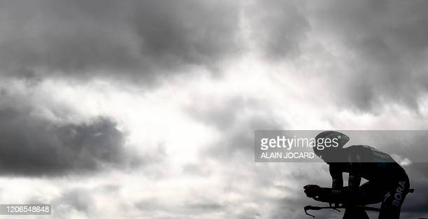 Hansgrohe Slovakia rider Juraj Sagan competes during the 15,5 km individual time trial 4th stage of the 78th Paris - Nice cycling race stage between...