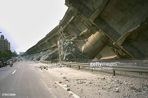 Hanshin Expressway elevated highway collapses after the strong earthquak on Janaury 17 1995 in Kobe Hyogo Japan Magnitude 73 strong earthquake jolted...