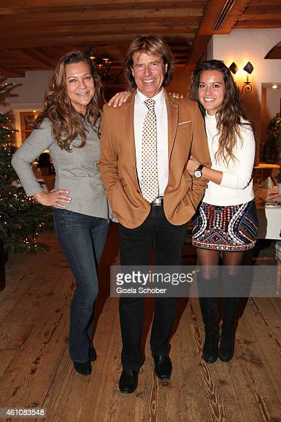 Hansi Hinterseer and his wife Romana and his daughter Laura pose during the NeujahrsKarpfenessen in Hotel zur Tenne on January 06 2015 in Kitzbuehel...