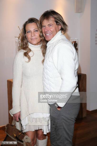 Hansi Hinterseer and his wife Romana Hinterseer during the Neujahrs Karpfenessen at hotel Kitzhof on January 6 2019 in Kitzbuehel Austria