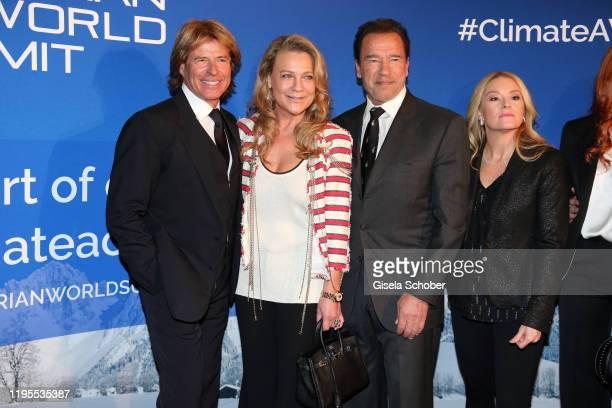 Hansi Hinterseer Romana Hinterseer Arnold Schwarzenegger Heather Milligan during the Schwarzenegger climate initiative charity dinner prior the...