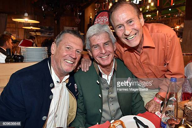 Hansi Kraus Frederic Meisner and Michael Holm during the Radio Gong 963 Wiesn during the Oktoberfest 2016 on September 21 2016 in Munich Germany