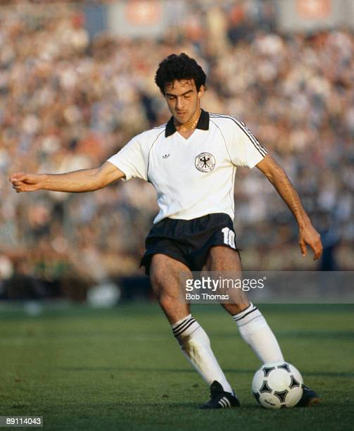 Hansi Mueller in action for West Germany against Brazil in the International friendly match in Stuttgart 19th May 1981