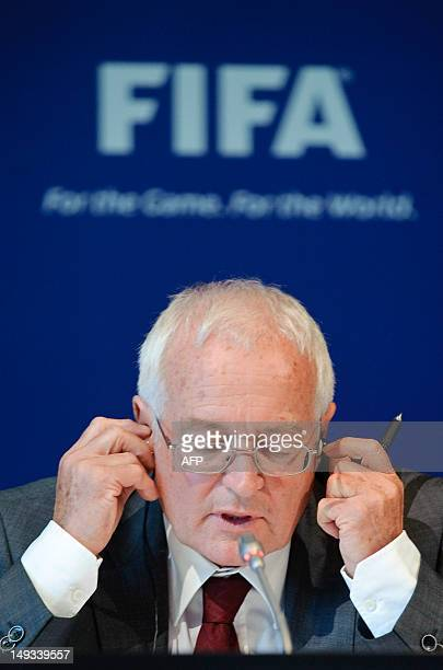 HansJoachim Eckert Chairman of the adjudicatory chamber of the FIFA Ethics Committee answers to journalists during a press conference at the FIFA's...