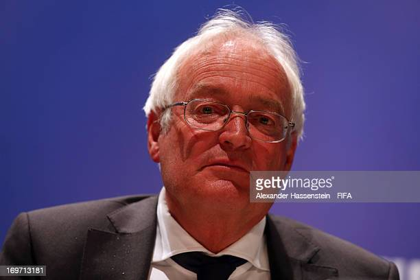 HansJoachim Eckert Chairman of the FIFA Adjudicatory Chamber looks on during a press conference after the 63th FIFA Congress at Swami Vivekananda...