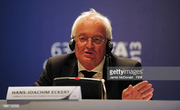 HansJoachim Eckert Chairman of the FIFA Adjudicatory Chamber talks to the media during the 63rd FIFA Congress press Conference at the Swami...