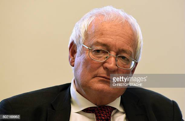 HansJoachim Eckert head of the adjudicatory arm of FIFA's ethics commitee attends a press conference on December 21 2015 in Munich southern Germany...