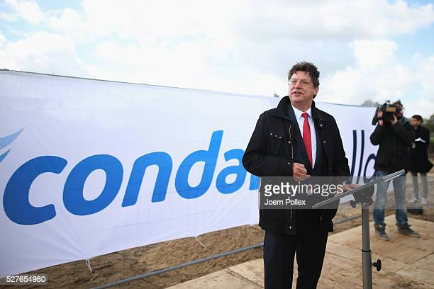 HansJoachim Grotte Minister for Economic Affairs SchleswigHolstein speaks to the attendant crowd during the foundation stone laying ceremony for the...
