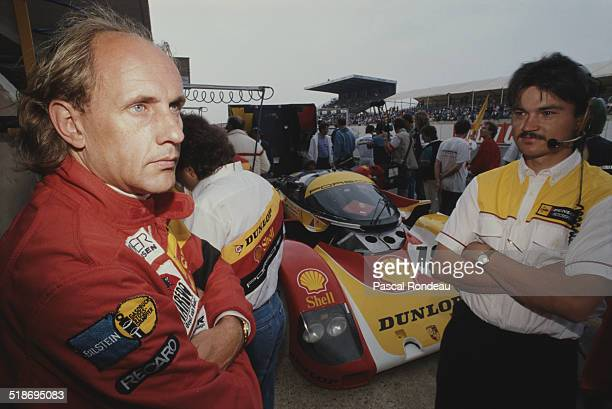 HansJoachim Stuck of Germany driver of the Shell/Dunlop Porsche AG Porsche 962 C during the FIA World Sportscar Championship 24 Hours of Le Mans race...