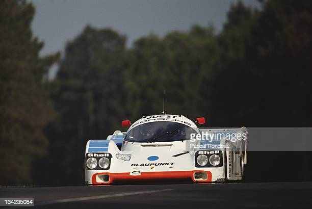 HansJoachim Stuck of Germany drives the Joest Racing Porsche 962C during practice for the FIA World Sportscar Championship 24 Hours of Le Mans race...