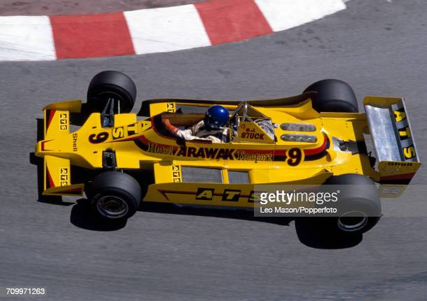 HansJoachim Stuck of Germany in action driving an ATS D2 with a Ford Cosworth DFV 30 V8 engine for ATS Wheels during the Monaco Grand Prix in Monte...
