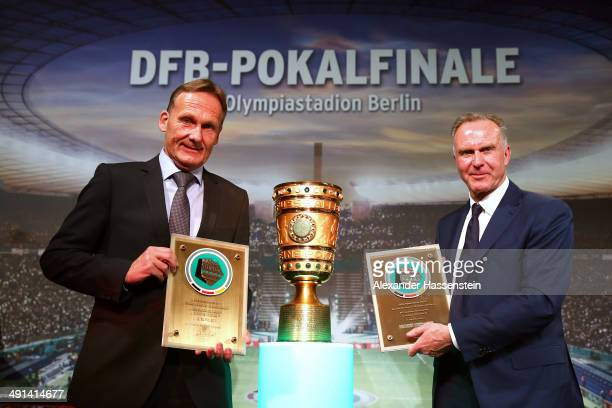 HansJoachim Watzke CEO of Dortmund attends with KarlHeinz Rummenigge CEO of Bayern Muenchen the DFB Cup Gala at Hotel Intercontinental Berlin on May...