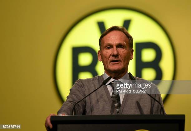 HansJoachim Watzke manager of German first division Bundesliga football club Borussia Dortmund gives a speech during the club's annual general...