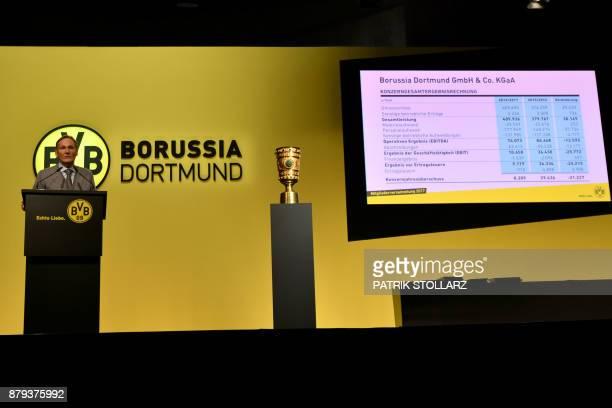 HansJoachim Watzke manager of German first division Bundesliga football club Borussia Dortmund gives a speech during the club's annual general...