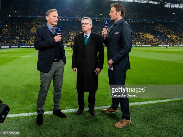 HansJoachim Watzke of Borussia Dortmund and Germany's Federal Minister of the Interior Thomas de Maiziere during an interview for Sky prior to the...