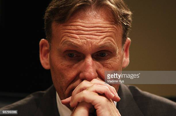 HansJoachim Watzke of Borussia Dortmund is pictured during the Borussia Dortmund annual meeting at the Westfallenhalle on November 22 2009 in...