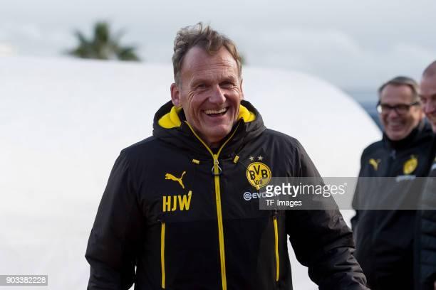 HansJoachim Watzke of Dortmund laughs during the Friendly match between Borussia Dortmund and SV Zulte Waregem at Estadio Municipal de Marbella on...
