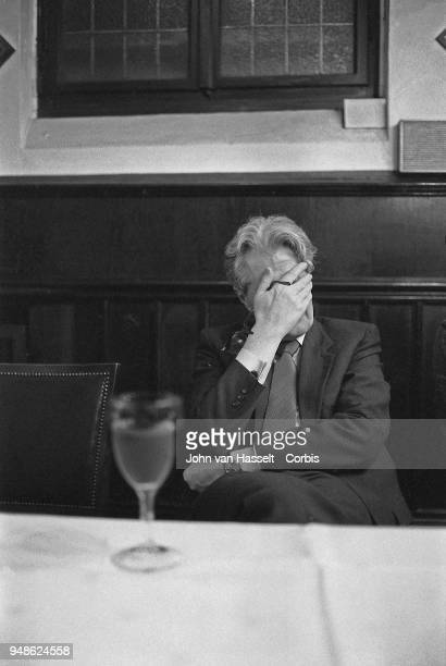 HansJochen Vogel top candidate of the SPD Social Democratic Party reacts as he campaigns in a special electoral train Vogel Zug on January 29 1983 in...