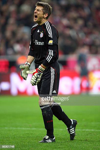 HansJoerg Butt of Bayern shows his frustration during the Bundesliga match between Bayern Muenchen and Bayer Leverkusen at the Allianz Arena on...
