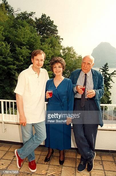 HansJürgen Schatz Sonja Ziemann mitEhemann Charles Regnier Ferienwohnung inLugano/Italien Weingläser Homestory