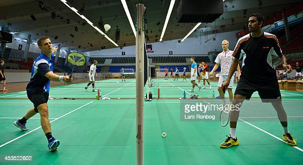HansKristian Vittinghus and Rajiv Ouseph training during the Danish National Badminton Team training ahead of the Badminton World Championships at...